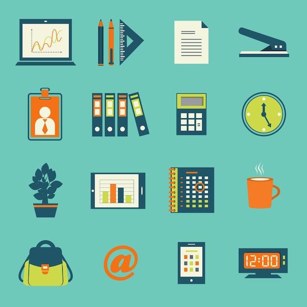 Biuro Biznesowe Pióro Ikony Zestaw Smartphone Tablet I Notebooka Odizolowane Ilustracji Wektorowych Darmowych Wektorów