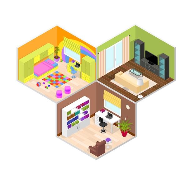 Biuro, Dzieci I Pokój Dzienny. Widok Izometryczny. Premium Wektorów