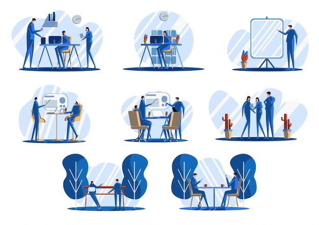 Biuro płaskie ilustracja Premium Wektorów