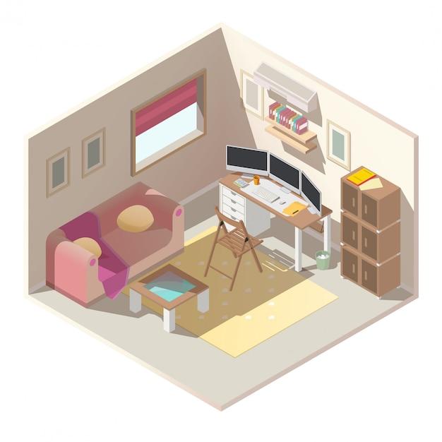 Biuro W Domu W Mieszkaniu Izometryczny Wektor Wnętrza Darmowych Wektorów