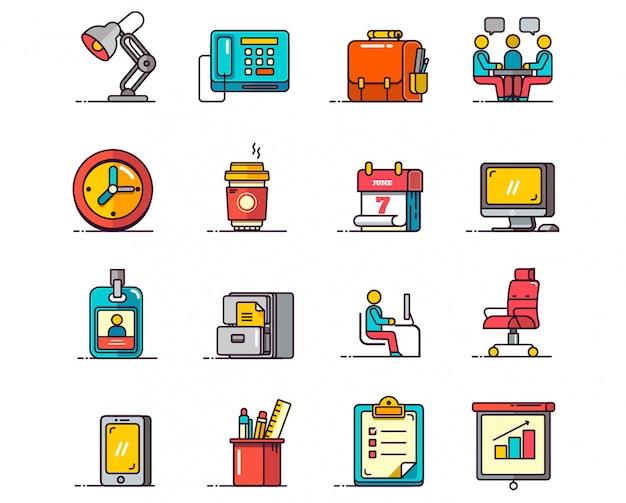 Biuro zestaw ikon wektorowych Premium Wektorów