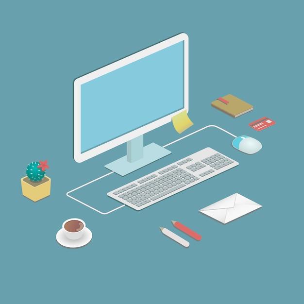 Biurowa Stacja Robocza W Płaskiej Obudowie Z Komputerem Stacjonarnym Premium Wektorów