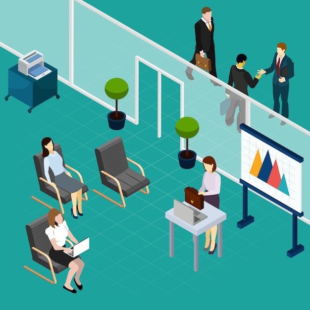 Biurowy Personel Trenuje Isometric Skład Z Wykładowcą I Czeka Pracowników Elementów Wektoru Wewnętrzną Ilustrację Darmowych Wektorów