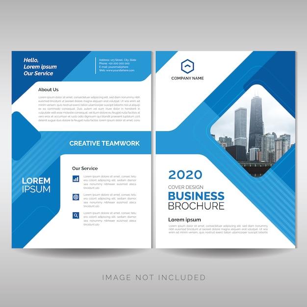 Biznes broszura z niebieskimi geometrycznymi kształtami Premium Wektorów