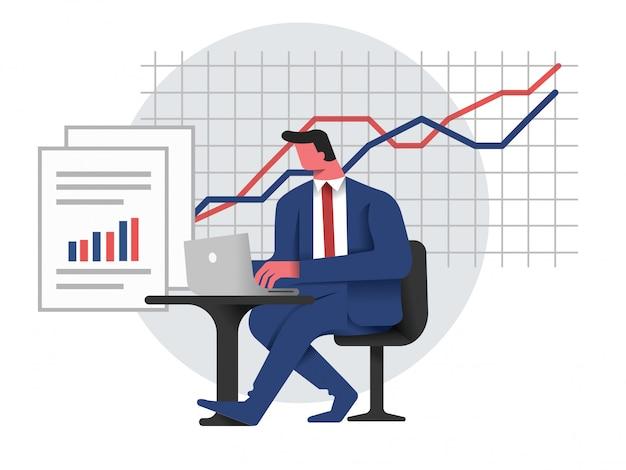 Biznes człowiek analizuje i raportuje wyniki biznesowe Premium Wektorów