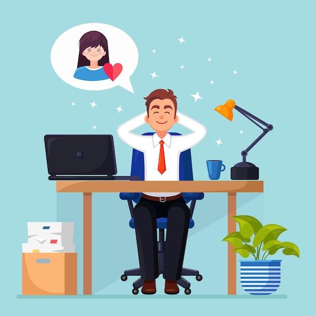 Biznes Człowiek Jest Relaksujący I Marzy O Kobiecie Z Czerwonym Sercem Na Krześle Biurowym. Premium Wektorów