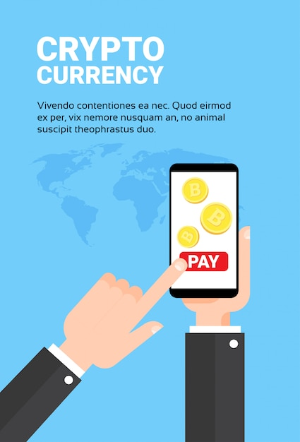 Biznes człowiek ręka trzyma inteligentny telefon płacić z bitroins wymiany bankowości mobilnej crypto concept technologii waluty Premium Wektorów