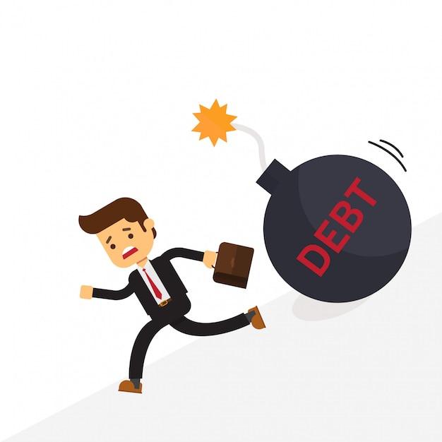 Biznes człowiek ucieka dług bomby Premium Wektorów