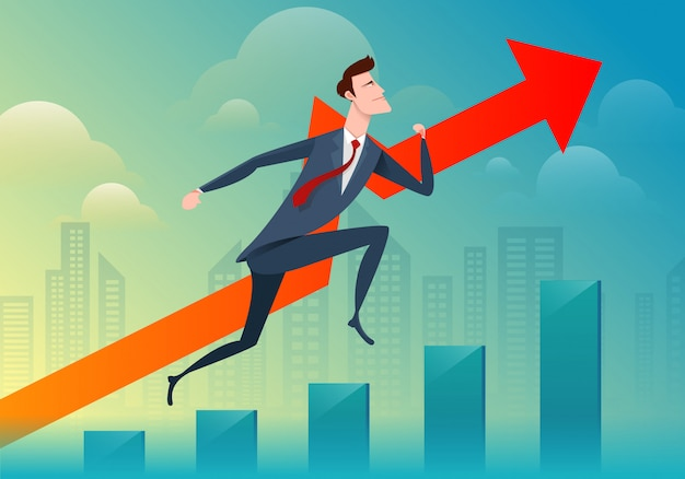 Biznes człowiek uruchomić i przejść przejść wykres Premium Wektorów