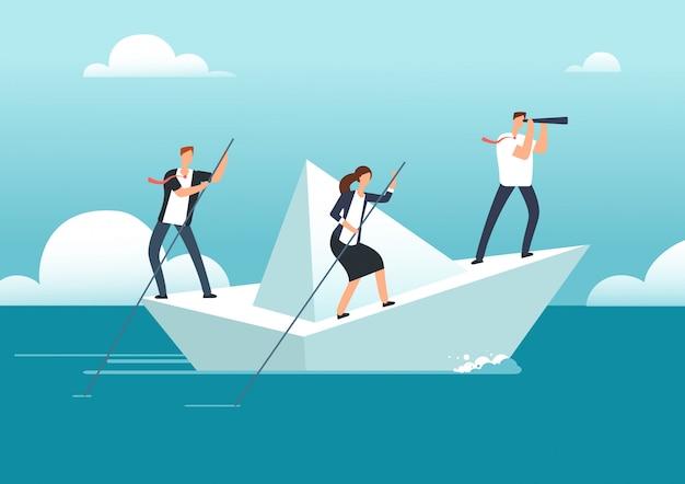 Biznes Drużyna Z Liderem żeglującym Na Papierowej łodzi W Oceanie Możliwości Gola. Premium Wektorów