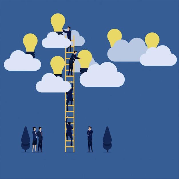 Biznes drużyny żniwa pomysł na chmurze Premium Wektorów