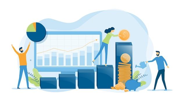 Biznes Finanse Koncepcja Inwestycji I Oszczędności Premium Wektorów