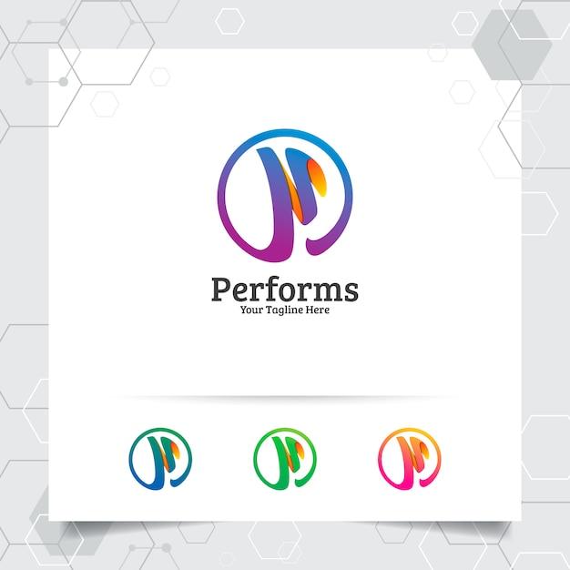 Biznes finanse listu p logo projekt wektor z nowoczesnym kolorem dla biznesu finanse. Premium Wektorów