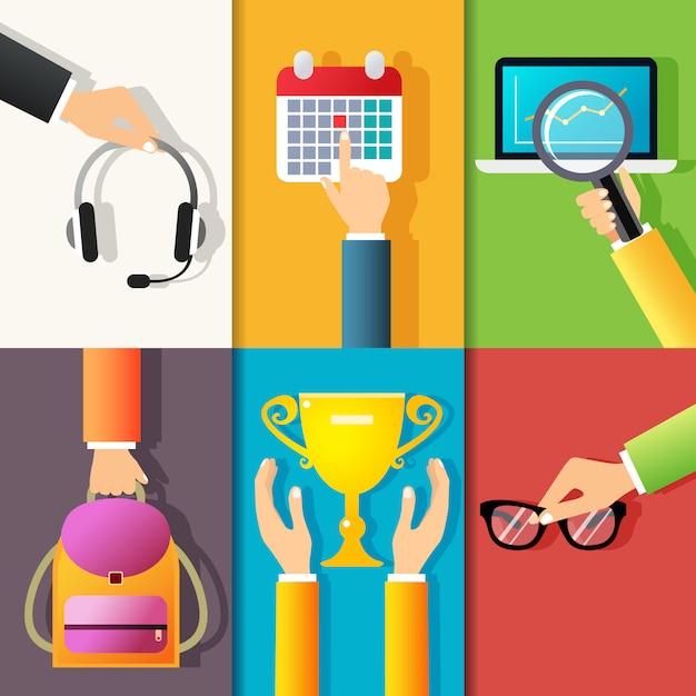 Biznes Gesty Ręce Zaprojektować Elementy Gospodarstwa Słuchawki Wskazując Na Kalendarz Na Białym Tle Ilustracji Wektorowych Darmowych Wektorów