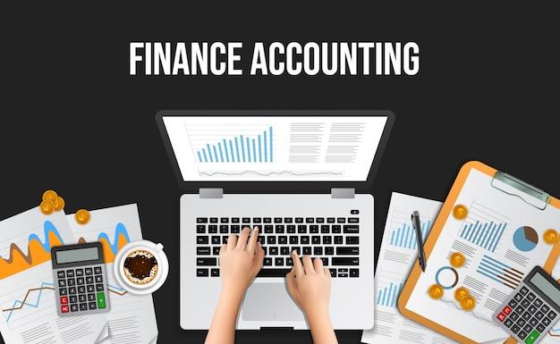 Biznes ilustracja koncepcja rachunkowości finansowej, zarządzania, audytu, badań, pracy w biurze Premium Wektorów
