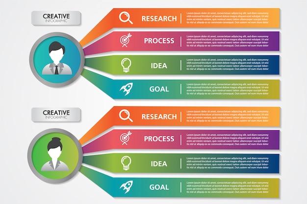 Biznes Infografiki Szablon Kobieta I Mężczyzna Avatar 4 Kroki Lub Opcje Premium Wektorów