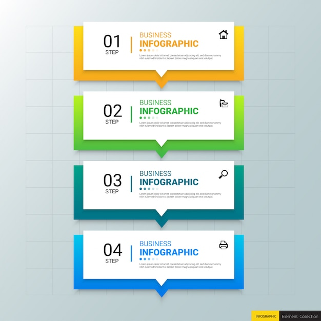 Biznes infografiki szablon z czterema krokami Premium Wektorów