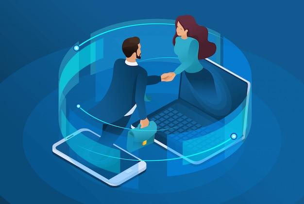 Biznes Izometryczny, Globalna Współpraca Online Między Dużymi Firmami. Premium Wektorów