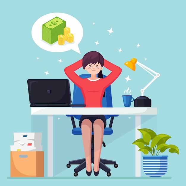 Biznes Kobieta Jest Relaksująca I Marzy O Stosie Pieniędzy Na Krześle Biurowym. Finanse, Inwestycje Premium Wektorów