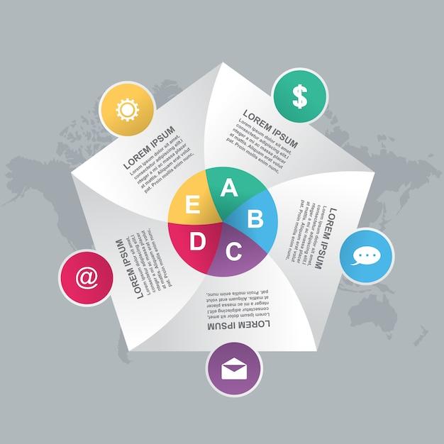 Biznes kroczy nowożytnej żaluzi cyklu mapy infographic szablon Premium Wektorów