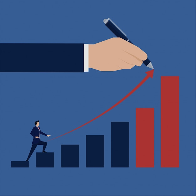Biznes Płaski Biznesmen Wspiąć Się Na Wzrost Wykresu Słupkowego. Premium Wektorów