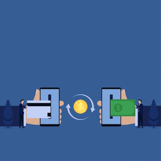 Biznes płaski wektor koncepcja biznesmen push karty kredytowej do telefonu i inne wyciągnąć pieniądze metaforą transakcji online. Premium Wektorów