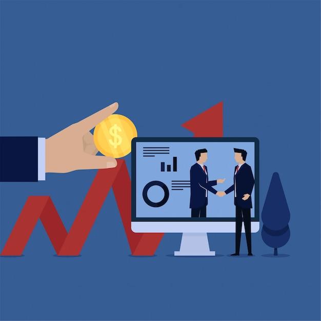Biznes Płaski Wektor Koncepcja Uzgadniania Menedżera Z Inwestorem Metafora Inwestycji. Premium Wektorów