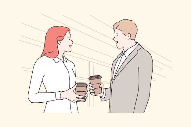Biznes, Przerwa, Komunikacja, Przyjaźń, Spotkanie Koncepcji Premium Wektorów