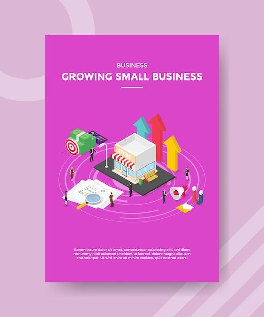Biznes Rośnie Małych Ludzi Biznesu Stojących Wokół Pieniędzy Papierowych Wykresów Sklepu Premium Wektorów