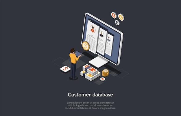 Biznes, Sprzedaż, Koncepcja Bazy Danych Klientów. Męska Postać Stoi Przed Ogromnym Ekranem I Stosem Dolarów, Wyszukując Informacje W Bazie Danych Klientów. Kolorowe Izometryczne 3d Ilustracji Wektorowych. Premium Wektorów