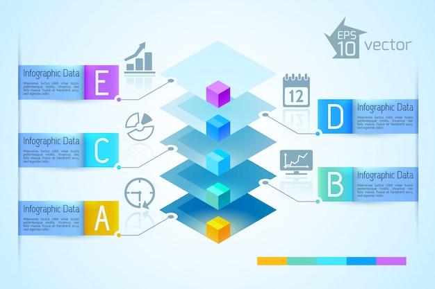 Biznes światło Infografiki Z Kolorową 3d Kwadratową Piramidą Pięć Banerów Tekstowych Wstążki I Ilustracji Ikony Darmowych Wektorów