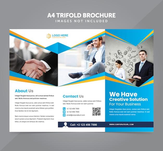 Biznes Wielozadaniowy A4 Trifold Broszura Szablon Wektor Premium Wektorów