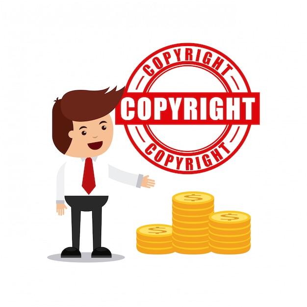 Biznesmen avatar z koncepcją praw autorskich Premium Wektorów