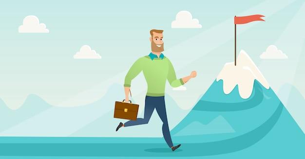 Biznesmen biegnie do swojego celu biznesowego. Premium Wektorów