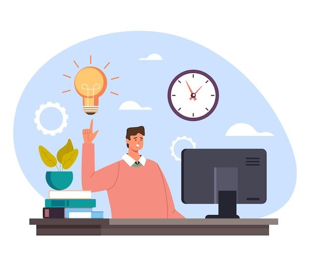 Biznesmen Charakter Kierownik Pracownik Biurowy Posiadający Dobry Pomysł I Trzymając Palec W Górę. Rozpocznij Nową Koncepcję Biznesową świeży Pomysł. Premium Wektorów
