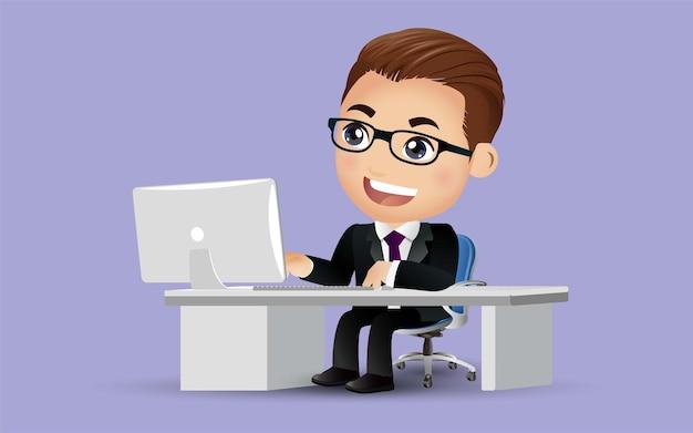 Biznesmen Charakter Pracy Na Komputerze Przenośnym W Biurze Informacji Turystycznej Premium Wektorów