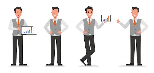 Biznesmen Charakter Pracy Premium Wektorów