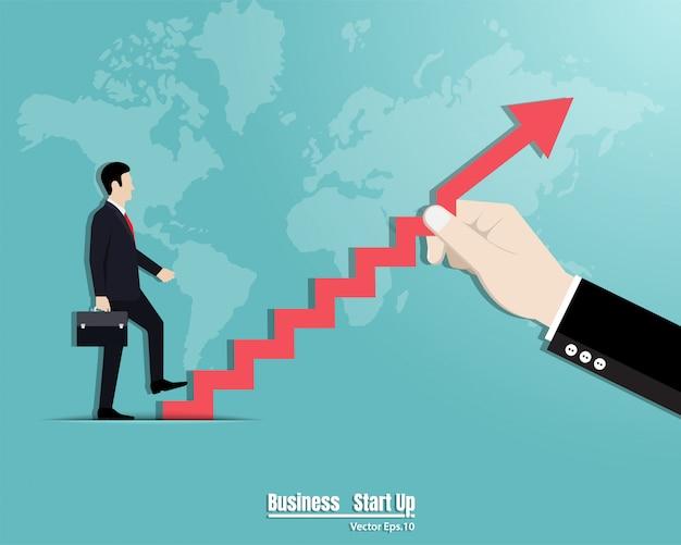 Biznesmen chodzenia po schodach Premium Wektorów