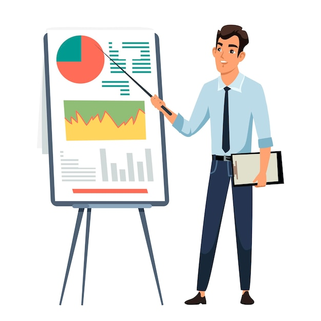Biznesmen Daje Prezentację, Pracownik Biurowy W Pobliżu Tablicy Z Diagramami Wykresów. Premium Wektorów
