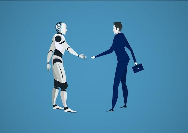 Biznesmen Drżenie Robotów Strony Dla Inwestycji. Futurystyczny Człowiek Vs Robot Premium Wektorów