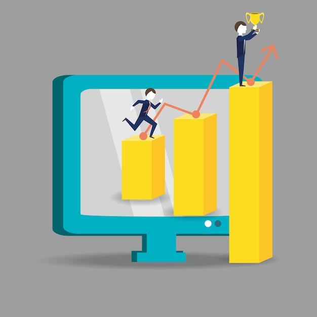 Biznesmen Działa Dla Osiągnięcia Sukcesu Premium Wektorów