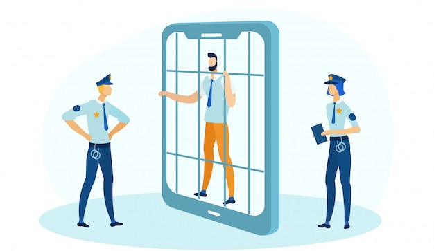 Biznesmen Gospodarstwa Bary W Więzieniu W Ramce Telefonu. Premium Wektorów