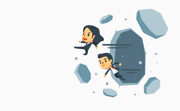 Biznesmen I Bizneswoman Powalają Grube ściany. Premium Wektorów