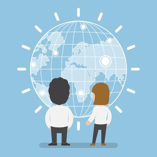 Biznesmen I Kobieta Stojąca Przed Koncepcją świata Cyfrowego, Komunikacji I Technologii Premium Wektorów