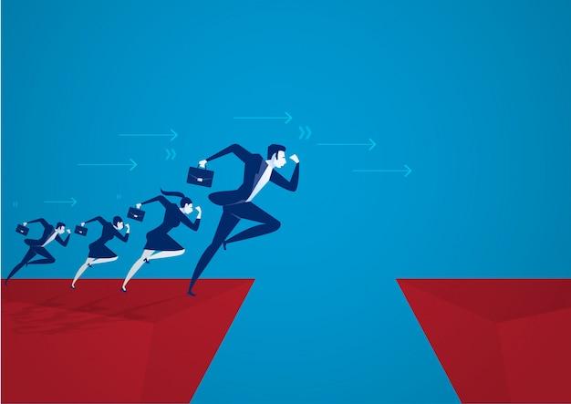Biznesmen illustrator przeskakując przez przepaść. koncepcja sukcesu w biznesie, ryzyko. Premium Wektorów