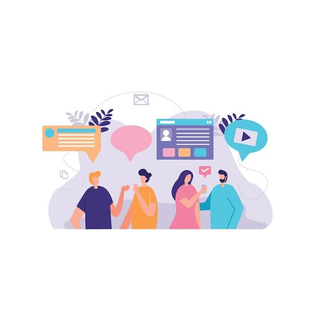 Biznesmen ilustracja dyskusji społecznej Premium Wektorów