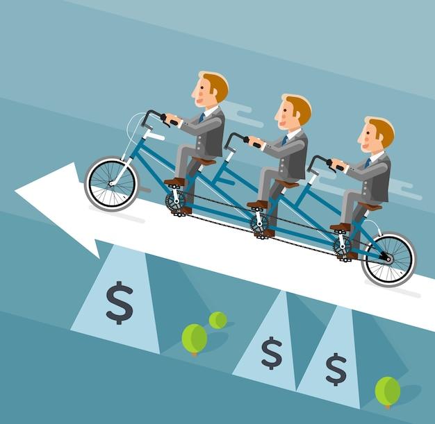 Biznesmen Jedzie Na Długim Rowerze Na Białą Strzałkę. Premium Wektorów