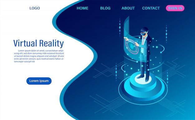 Biznesmen jest ubranym gogle vr z wzruszającym interfejsem w rzeczywistość wirtualna świat Premium Wektorów