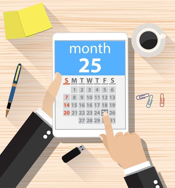 Biznesmen Klika Aplikację Kalendarza Dnia Premium Wektorów