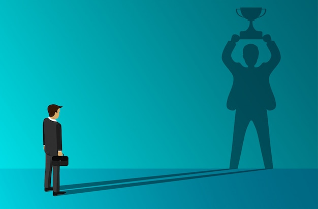 Biznesmen, który stoi w cieniu trzyma trofeum sukcesu na ścianie Premium Wektorów